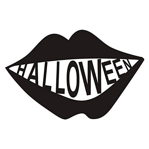 (captain_y Spooky Scary Black Lustige Großen Mund Abnehmbare Halloween Vinyl Aufkleber Fenster Wandaufkleber Schablone Für Kinder Kinderzimmer Dekoration 91X59 cm)