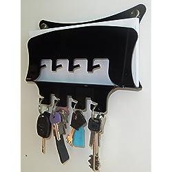 Fimel - porta chiavi porta posta da parete in plexiglass unico pezzo mis. L. 23 CM X H 18 CM X P. 4 CM (NERO)