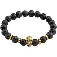 JOVIVI Schmuck, Lava-Armband Damen Herren Reiki-Energietherapie Armreif 8mm Lava Beads Buddha-Armband, Gold Totenkopf... preisvergleich bei billige-tabletten.eu