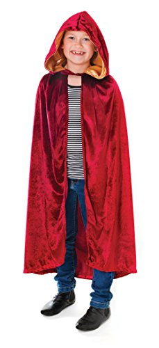 Kinder Assistenten Kostüme (Bristol Novelty CC172Samt Kapuzenumhang Kostüm, Burgunderrot,)