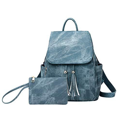 2 STÜCK Damen mode Quaste Messenger Handtasche Totes Schulter Rucksäcke Taschen, Vintage wasserdichte Rucksack Studententasche reisetasche, Große Kapazität Schultertasche (Blau) -