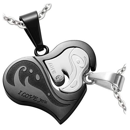Schmuck-Pur Partnerketten mit Laser-Gravur Herz-Anhänger silber schwarz Edelstahl mit Kristall 2 Halsketten 45/50 cm