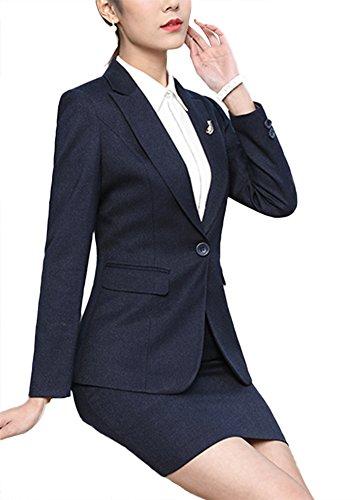 SK Studio Femmes Blazer Tailleurs Pantalons De Bureau 2 Pièces Revers Casual Costume Manteau Bleu Blazer +Jupe