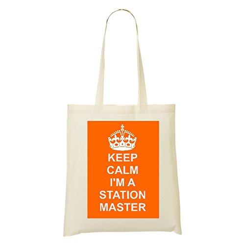 Station Master (Job/Karriere) Baumwolle Tasche Design auf natürlicher Baumwolle Schulter Tasche, baumwolle, Ivory/Orange, Orange Master-station
