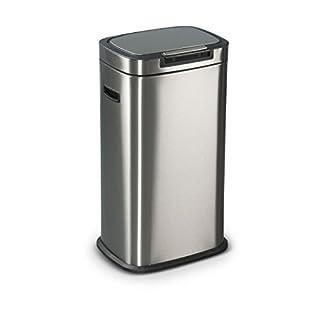 Abfalleimer Mülleimer HELSINKI aus Edelstahl, 38x29x67 cm, 38 Liter Volumen, Anti-Fingerabdruck Beschichtung, Soft-Close-Technologie und praktischer Touch-Bar