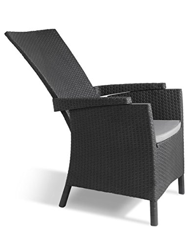 Keter Vermont Rattan Reclining Chair Outdoor Garden Furniture - Graphite with Grey Cushions