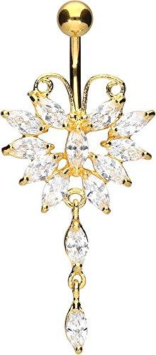 PIERCINGLINE® Bauchnabelpiercing Chirurgenstahl Bananabell mit Brass-Design GROSSER SCHMETTERLING Kristall