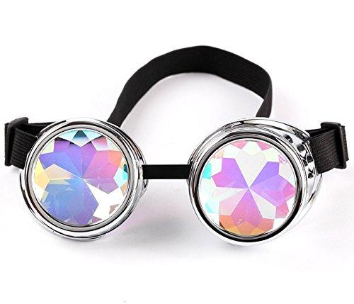 AFUT Steampunk-Brille, leuchtend, Kaleidoskop-Brille, Punk, Gothic, Cosplay, mit Fernbedienung, silberfarben, Style 1