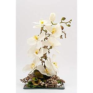 Tischgesteck mit creme/weißer Phalaenopsis auf Spiegelglas-Tischdeko mit künstl.Orchideen+Blumen