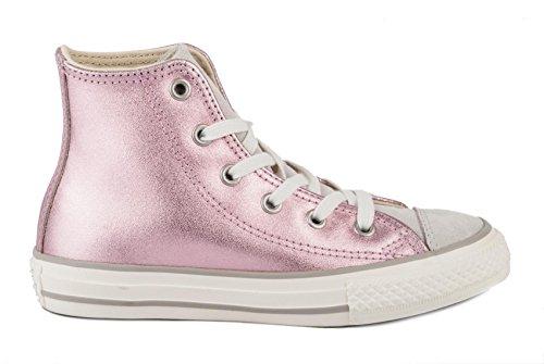 CONVERSE - Sneaker stringata rosa in pelle lucida, inserto anteriore e linguetta in camoscio, Bambina, ragazza, Donna GHIACCIO-ROSA