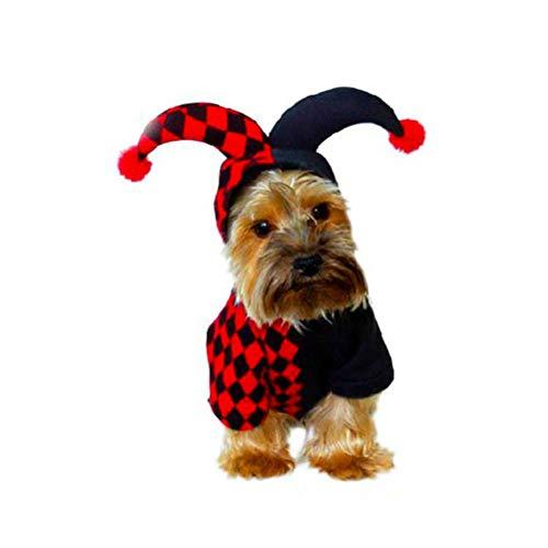 BESTOYARD Lustiges Haustier Clown-Kostüm mit Kapuze für Haustiere, Festival, Cosplay, Kleid für kleine Hunde, Katzen, Karneval, Weihnachten, Halloween, Party, Cosplay, Größe S (Schwarz und Rot)
