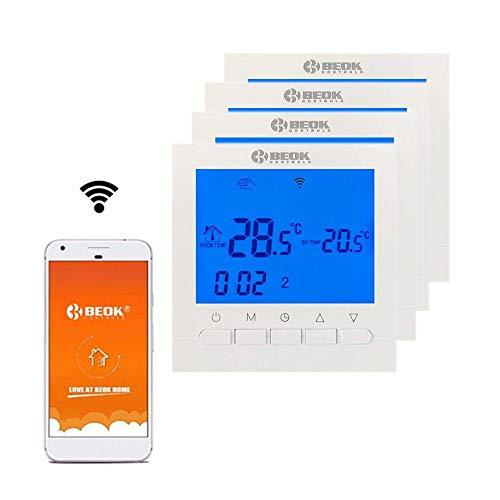 Beok BOT-313 WiFi-Thermostat Für Gaskessel, Programmierbar, LCD-Raumthermostat, Stromversorgung, Online-Steuerung über Smartphone, AC220V 3A, Blau,Packung Mit 4