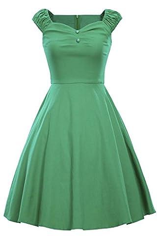 BAYCHEER Damen Kleider Audrey Hepburn Stile Vintage 1950s Rockabilly Swing Abendkleid Polka Dots Grün M