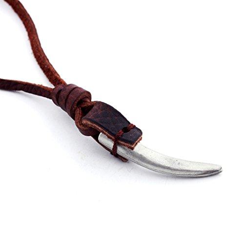 Collar de cuero para hombre DonDon marrón con estilo colgante de diente en un negro Schmuckbeutel