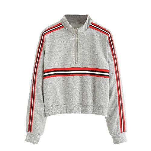 Sweatshirt Femme Imprimé Rayé,GongzhuMM Sweat Chic Sweats Capuche Top Blouse Mode Automne Pull Pullover Hoodie Manche Longue