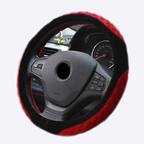 GOFEI Velvet Auto Lenkradhülle - Universal 38cm Lenkradabdeckung - Komfortabel und Rutschfest warm,Red