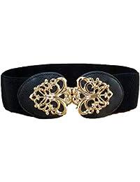 Cinturon de mujer Cinturón elástico ancho para mujer Accesorios Elegante  Cinturón elástico negro para mujer Cinturón 5c224fdf07ff