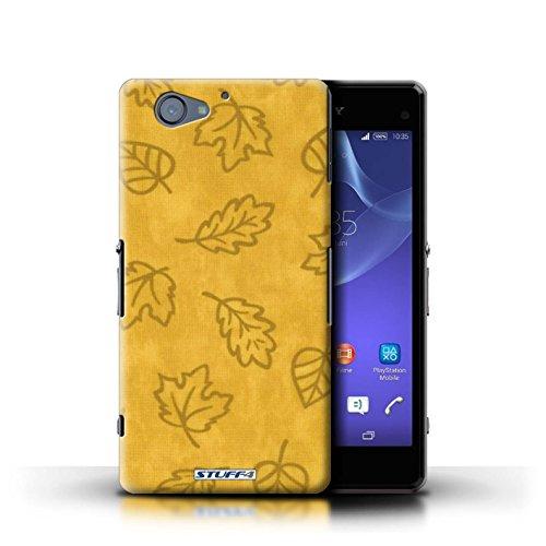 Kobalt® Imprimé Etui / Coque pour Sony Xperia A2 / Orange conception / Série Motif Feuille/Effet Textile Jaune