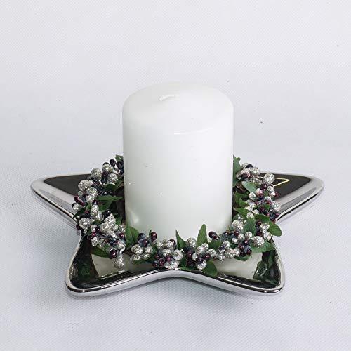 ecoSoul Assiette en céramique en Forme d'étoile de Noël Argenté Diamètre 20 cm