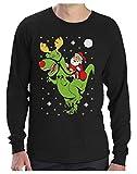 Photo de Green Turtle T-Shirts Pull de Noël Design T-Rex Père Noel Drole Humour T-Shirt Manches Longues Homme par Green Turtle T-Shirts
