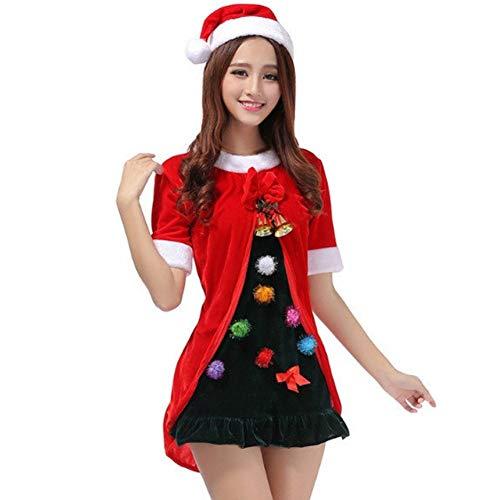 GSDZN - Dame Weihnachtsmann Kostüm, Erwachsene Weibliche Rot Santa Claus Kostüm, Einschließlich Hüte, Kleider, Eine Größe, Geeignet Für S-XL,OneSize