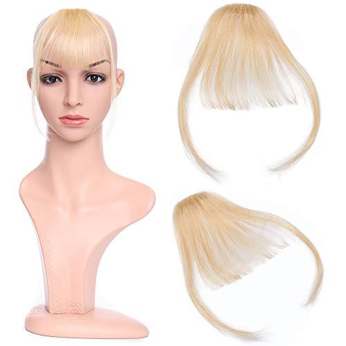 Silk-co Air Pony Haarteil Echthaar Gebleichtes Blond #613 Clip in pony - Extensions Echthaar Haarteil Haarverlängerung mit Tempel Ein Stück 3g (In Clip Echthaar Pony 100)