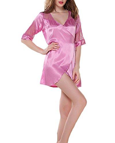 Femme Pyjama Kimono Robe de Chambre Chemise de Nuit Peignoir de Bain en Satin Violet