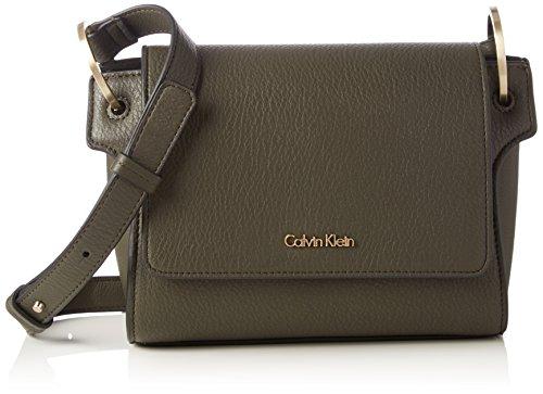 Calvin Klein Damen Iren3 Flap Crossbody Umhängetasche, Grün (Black Olive), 15x20x18 cm  (B x H x T) (Kleine Cross Flap Body)