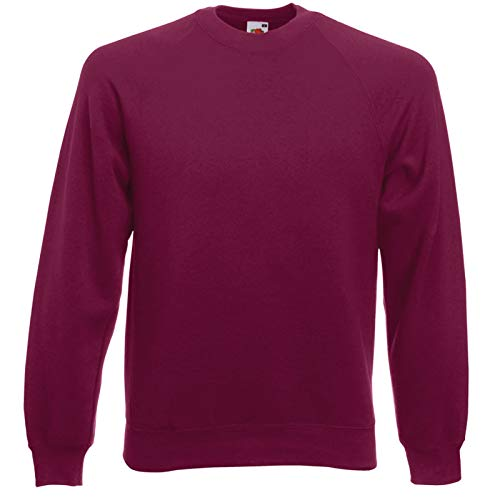 Rote Jumper Cord (Fruit of the Loom Herren, Sweatshirt, Raglan Sweatshirt XXL,Rot - Burgunderrot)