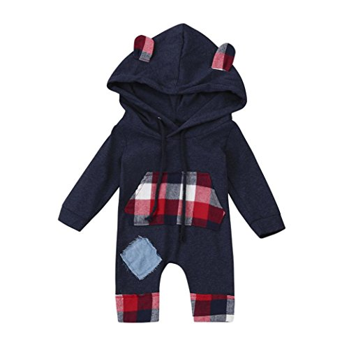 LCLrute New Mode Lovely Cute Newborn Kid Baby Bear Grid Hoodie Boys Girls Outfits Clothes Jumpsuit (100) (Grid Girl Outfit)