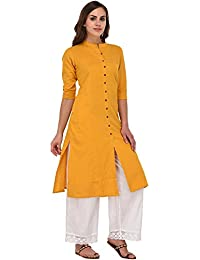 Pistaa Women's Solid Cotton Mustard Yellow Kurta With Fold Up Sleeves & Plus Size