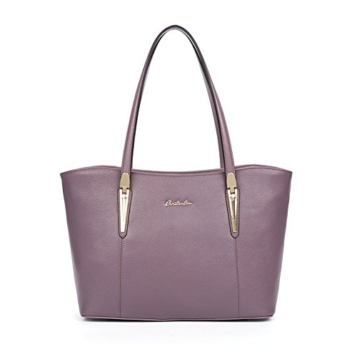 BOSTANTEN Handtaschen Damen Leder Umhängetasche Schultertasche Shopper Tasche Lila (Lila Shopper)