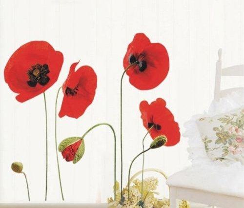 Rote Mohnblumen Entfernbare Transparente Wand Aufkleber Sticker Kunst (Wand-sticker Und Aufkleber)