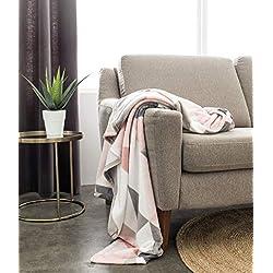 TODAY Plaid Moelleux imprimé Softy 125x150 cm 100% Polyester, Blanc/Gris/Rose, 125x150