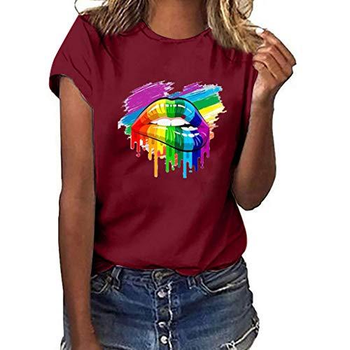 Lazzboy Frauen Mädchen Plus Size S-3XL,Lips Print Shirt Kurzarm T-Shirt Bluse Tops Shirts - Lippen Mund Damen Rundhals(Wein,S)