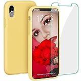 ProBien Coque pour iPhone X/XS Silicone Liquide Housse avec Ecran Verre Trempé Gratuit Case Anti-Choc Anti-Rayures Protection Complète Cover Étui de iPhone X/XS - Jaune