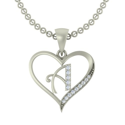 "Kanak Jewels Initial Letter ""A"" In Heart Shaped With Chain Silver Plated Cubic Zirconia Brass Pendant For Everyone"