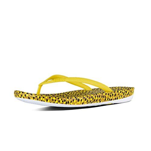 Fitflop Iqushion Super-Ergonomic Flip Flop Damen Sandalen Gelb Gelbe Bläschen