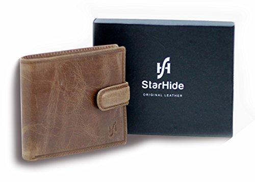 Starhide 1212 - Portafogli con blocco RFID, da uomo, in nappa, piegatura tripla, con tasca per documento di identità, scomparti per le carte di credito e portamonete Marrone #1212 Tan