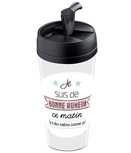 Wantit Mug de Voyage Isotherme Personnalisable Motif Bonne Humeur Plastique Beige/Rose/Bleu 7,8 x 7,8 x 17,5 cm