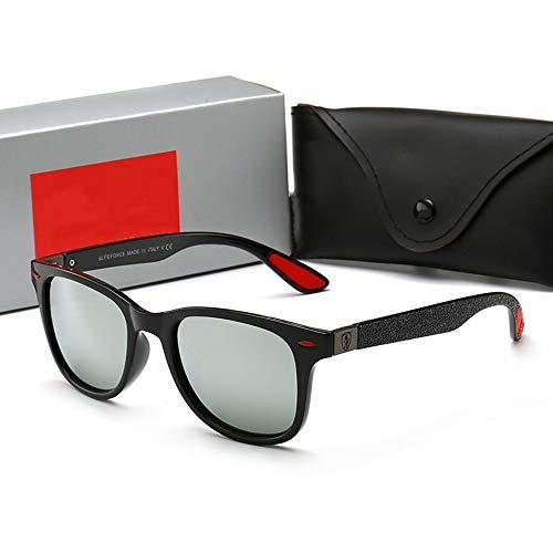 Honneury Herren/Damenmode Klassiker Casual Sonnenbrillen für das Fahren von Reisen (Farbe : Black Frame/Silver)