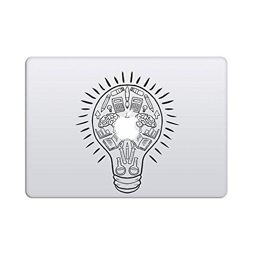 "artsybb Idee Leuchtmittel Abnehmbare Vinyl Aufkleber Aufkleber Skin für Apple MacBook Air Pro 33cm 38,1cm Mac Retina Laptop Schwarz Black Bulb Illustration MacBook Air/Pro 13-15\"" w/Glowing Logo"