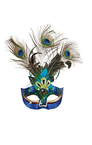 shoperama Halbmaske Paradiesvogel Pfau Federn Pailletten Pfauenfeder Vogel-Maske Kopfschmuck Karneval Verkleidung Kostüm-Zubehör