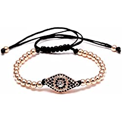 STRIPES Presents Evil Eye & Rose Gold Beads Bracelet For Unisex