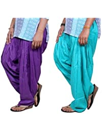 ROOLIUMS ® (Brand Factory Outlet) Punjabi Patiala Salwar Pack -2 Free size (Purple, Sky blue)