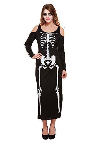 Skelett lang Damen HALLOWEEN KOSTÜM Spooky Reaper Damen Erwachsene Kostüm