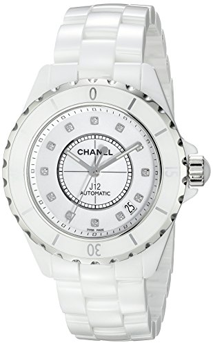 CHANEL UNISEX J12 38MM WHITE CERAMIC BAND & CASE AUTOMATIC ANALOG WATCH H1629