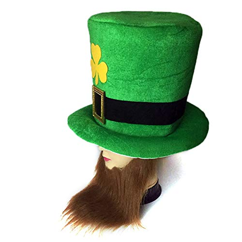 s Day Party Kostüm Hut grün Kobold Shamrock Zylinder mit Bart (Color : Coffee Beard) ()