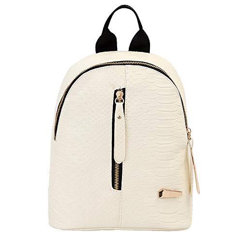 YWLINK Damen Rucksack Henkeltaschen Reisetasche Backpack Retro Multifunction Frauen Schulrucksack MäDchen Rucksack Mit GroßEr KapazitäT Süßigkeitenfarbe(Weiß,24 cm * 20 cm * 10 cm / 5,1 * 7,8 * 7,9)
