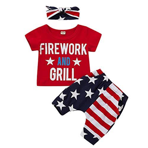 WINLISTING Infant Baby Boy 4. Juli Sterne und Streifen patriotischen Shirt Shorts Set Outfits (Rot, 80) (80-dollar-schuhe)